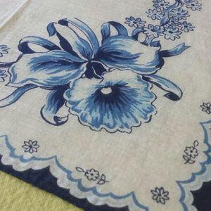 Blue Floral 1970s Kerchief